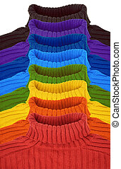 group of multi color rainbow sweaters collage
