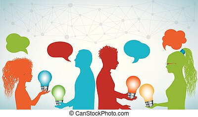 Group of multi-ethnic people sharing ideas with a light bulb in their hands. Communication and discussion community social network. Forum meeting group of friends or teamwork. Speech bubble