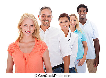 Group Of Multi-ethnic People Standing In A Row