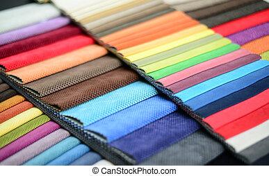 Group of multicolored fabrics
