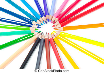 Group of multicolored pencils