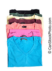 Group of multicolored t-shirts
