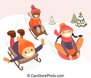 Group of multicultural kids enjoying a sleigh ride - Diverse...