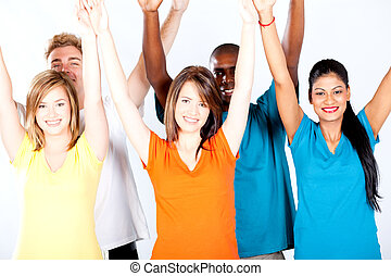 group of multicultural people arms up