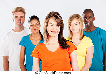 group of multicultural people on white background