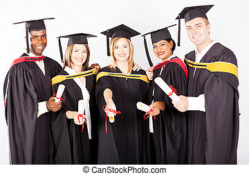 group of multicultural university graduates