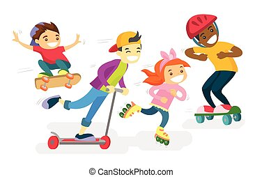 Group of multiethnic children playing together.