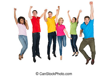 Group Of Multiethnic Diverse People Jumping