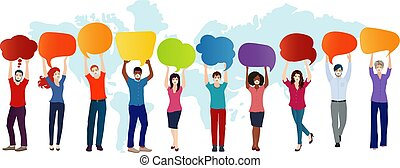 Group of multiethnic diverse people with medical mask holding empty speech bubble with message to customize. Quarantine of the covid-19 coronavirus infection pandemic. Contagion prevention