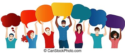 Group of multiethnic diverse people with medical mask holding empty speech bubble with message to customize. Quarantine of the covid-19 coronavirus infection pandemic. Upper body