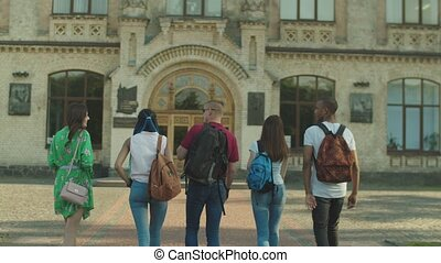Group of multinational students going to college