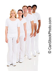group of multiracial friends in a row