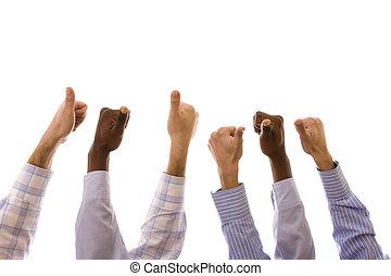 multiracial hands - group of multiracial hands gesturing ok...
