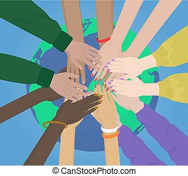 Group of multiracial human hands Together Joining on the Earth concept. Team and union.