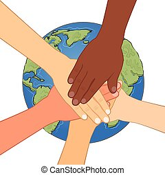 group of multiracial human hands together over earth