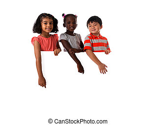 Group of multiracial kids portrait in studio with white board.Isolated