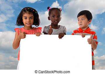 Group of multiracial kids portrait with white board.