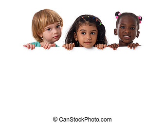 Group of multiracial kids portrait with white board. Isolated