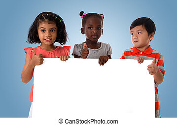 Group of multiracial kids portrait with white board