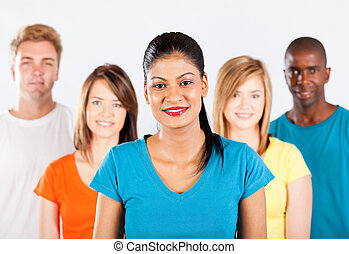 group of multiracial people on white