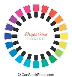 Group of  nail polish bottles set in a circle