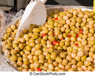 natural green olives with red peppers