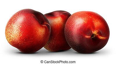 Group of nectarine peach isolated on white background.