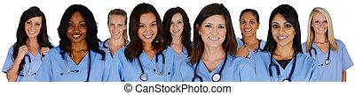Group of nurses set on a white background