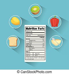 group of nutritive food with nutrition facts
