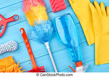 Group of objects for house cleaning. Duster broom and spray...