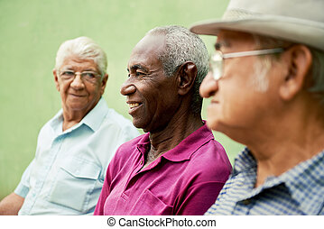 Group of old black and caucasian men talking in park