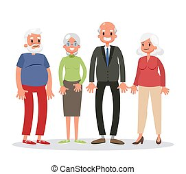 Group of old people standing. Senior man and woman with grey...