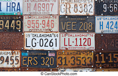 Group of old vintage American license plates