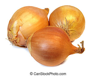 Group of onions isolated on a white background