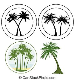 Group of palm logos, tropical tree