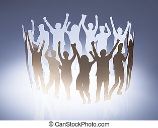 Group Of Paper People - Paper Cut Out Of People Raising Hand