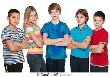 Group of pensive children