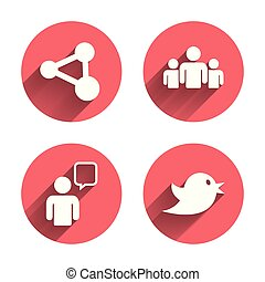 Group of people and share icons. Speech bubble.