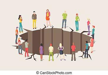 Group of people around hole.