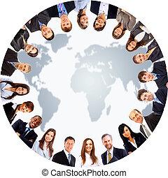 Group of people around - Group of people around a world map...