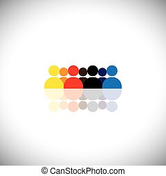 group of people as team showing teamwork - concept vector graphi