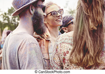 Group of people at the holi festival