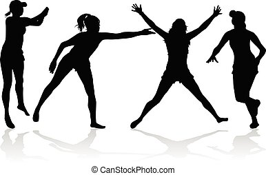 Group of people. Black silhouettes. Conceptual illustration.