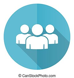 Group of people blue round flat design vector icon isolated on white background, team, teamwork illustration in eps 10