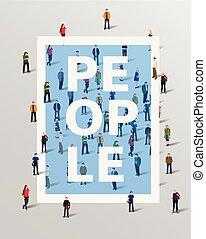 Group of people border design elements. Vector illustration.