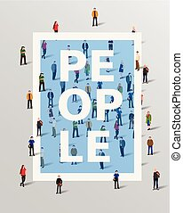 Group of people border design elements. Vector illustration.
