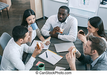 Group of people business team meal break concept