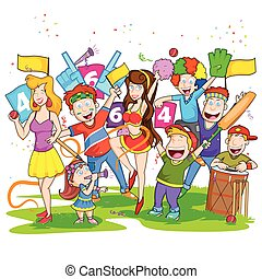 Group of people cheering for cricket match in vector