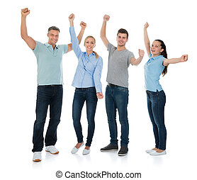 Group Of People Cheering