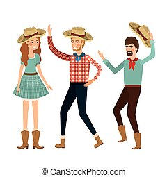 group of people dancing with straw hat